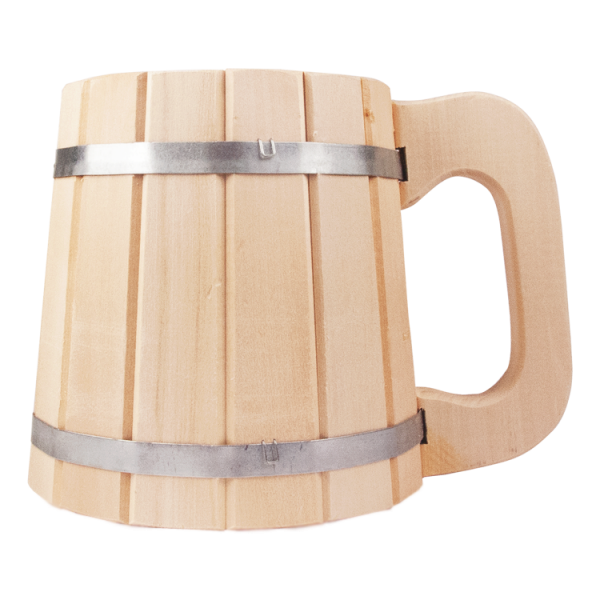 Bierkrug 1 L, aus Lindenholz. Höhe 14 cm
