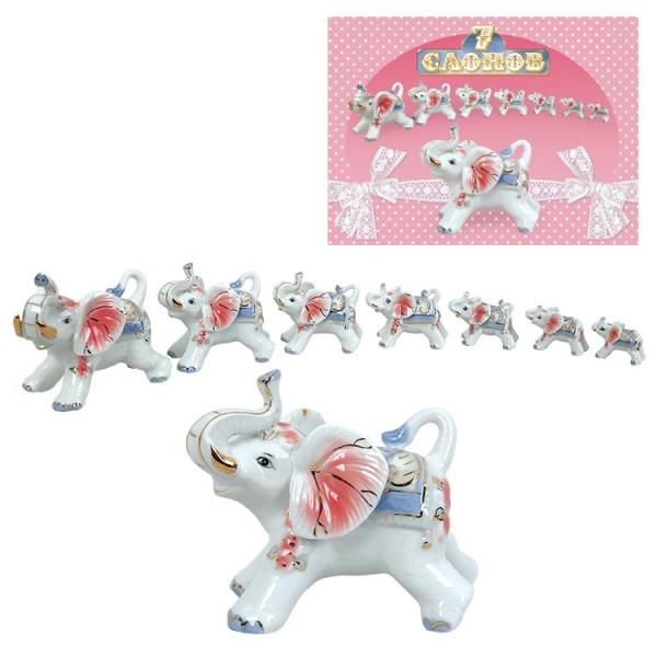 Figuren-Set ,7 Elefanten rose, aus Porzellan