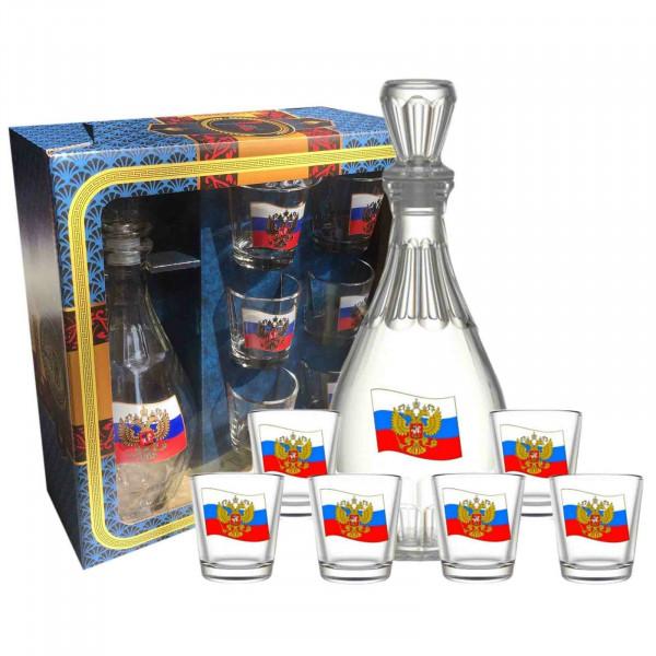 Wodkagläser-Set Flagge Rußland 1 Karaffe + 6 Gläser