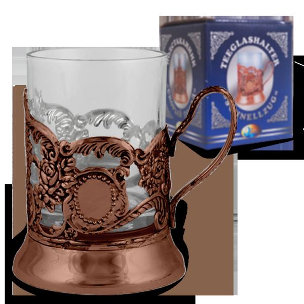 Teeglashalter, Schnellzug, bronze
