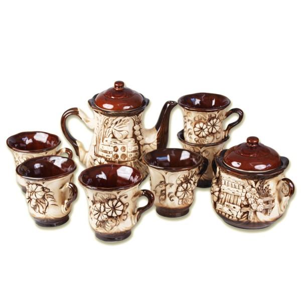 Teeservice Azur, 8 Teile - Teekanne, Zuckerdose und 6 Becher