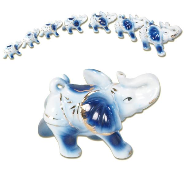 Figuren-Set ,7 Elefanten, aus Porzellan