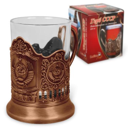 4-er Set Teeglashalter in Bronze UdSSR mit Teeglas 200 ml