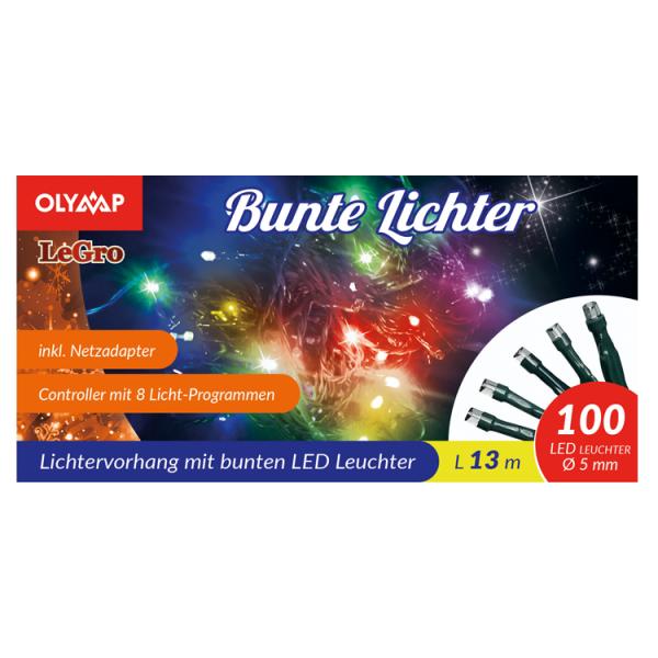 LED Lichterkette mit 100 multicolor LED's, 13 m, 8 Lichtprogramme