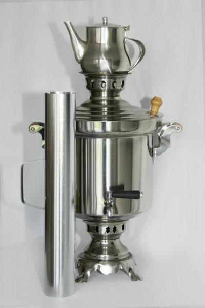 Russische Holzkohle Samowar 5 Liter+Teekanne Edelstahl