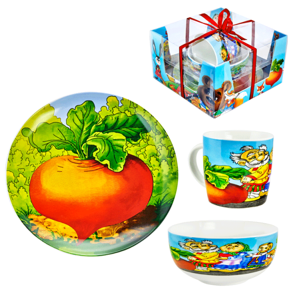 "3-tlg. Set für Kinder ""Repka"" Becher 300 ml, Suppenteller 600 ml, Teller 20 cm, porzelan"