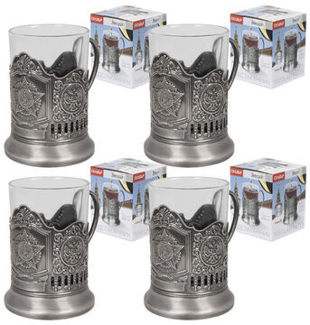 4-er Set Teeglashalter in Silber UdSSR mit Teeglas 200 ml