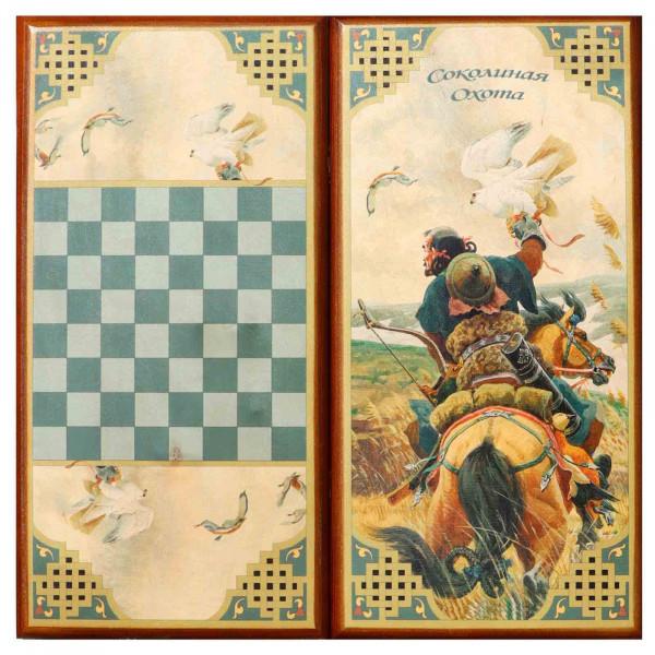 "Backgammonspiel Brettspiel Tischspiel "" Falkenjagd"" 60 x 30 cm"