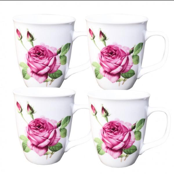 Kaffeebecher 4-er Set 400 ml Spanische Rosa