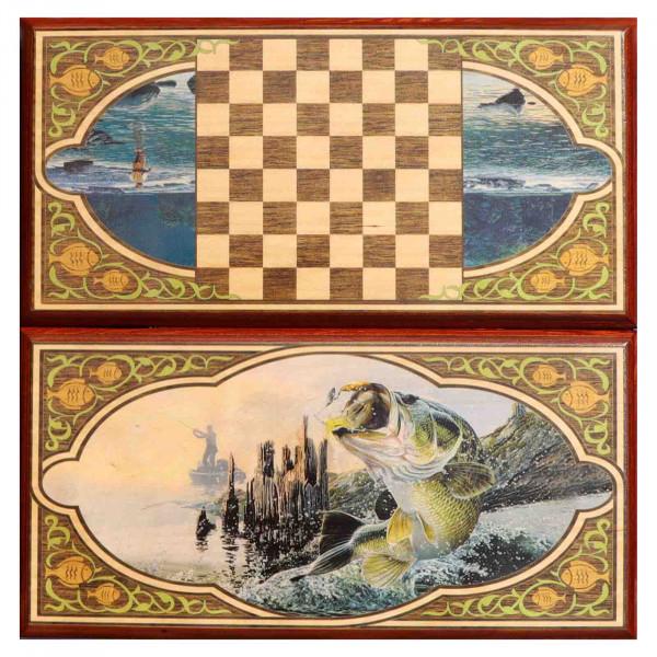 """Backgammonspiel Brettspiel Tischspiel """" Fisch"""" 60 x 30 cm"""