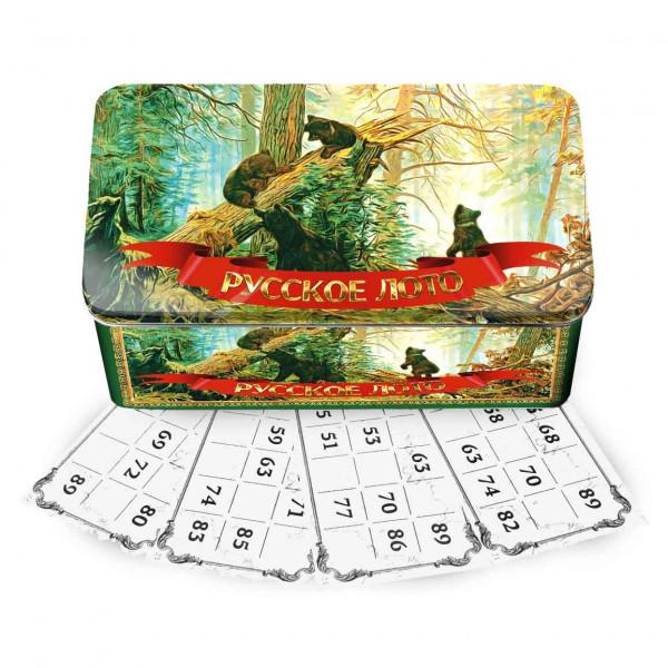 Russisches Lotto Bingospiel Familienspiel Bären im Wald in Metallbox