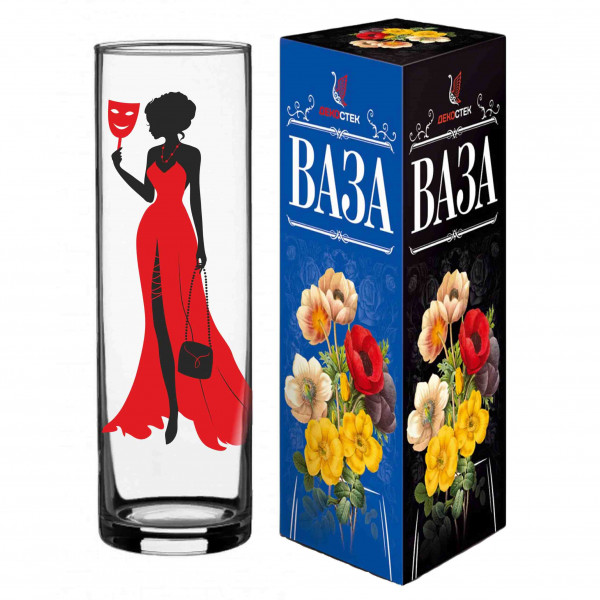 "Moderne Blumenvase aus Glas ""Lady with Mask"", H 26 cm"
