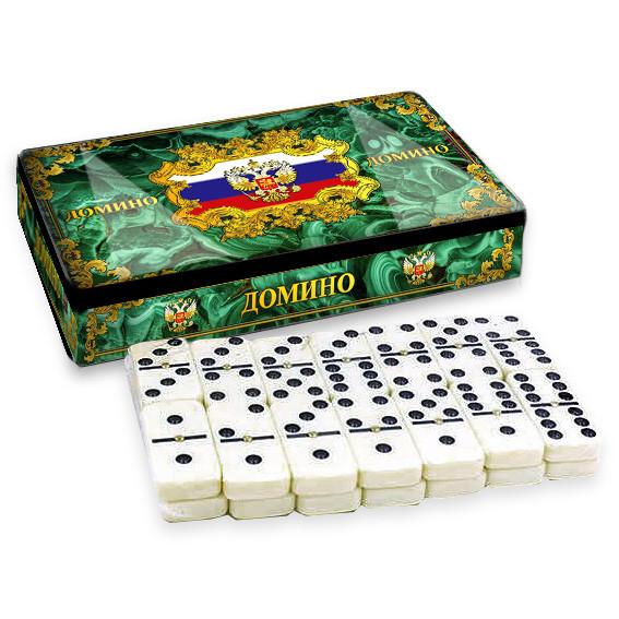 """Dominospiel Tischspiel """"Malahit"""" in Metallbox grün"""