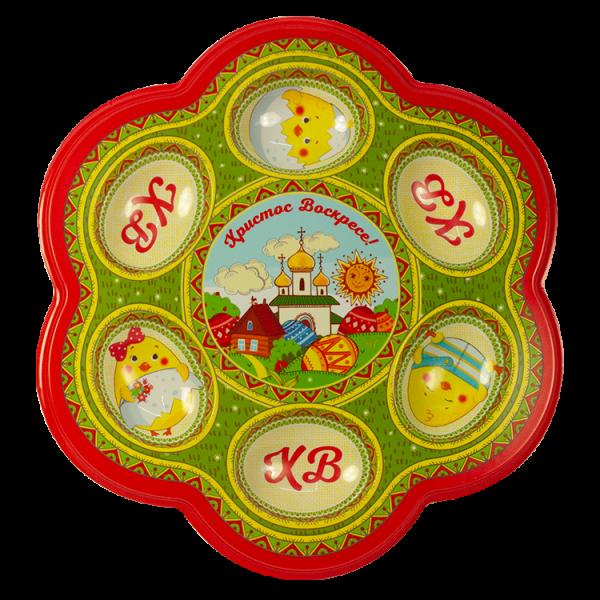 Osterteller mit Engel auf 6 Eier und 1 Osterkuchen 22 x 23 cm, aus Kunststoff