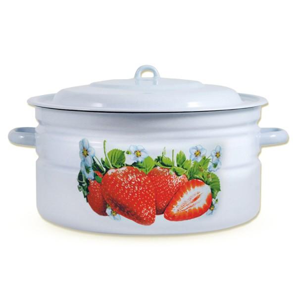 Topf mit Deckel, Erdbeeren 18 Liter emailliert