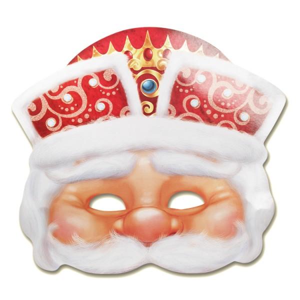 Maske, Weihnachtsmann, 26,5 x 23,9 cm, mit Gummiband