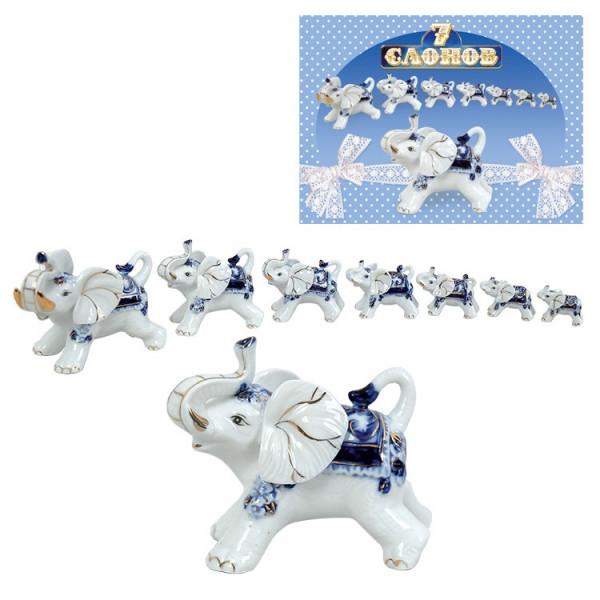 Figuren-Set ,7 Elefanten blau, aus Porzellan