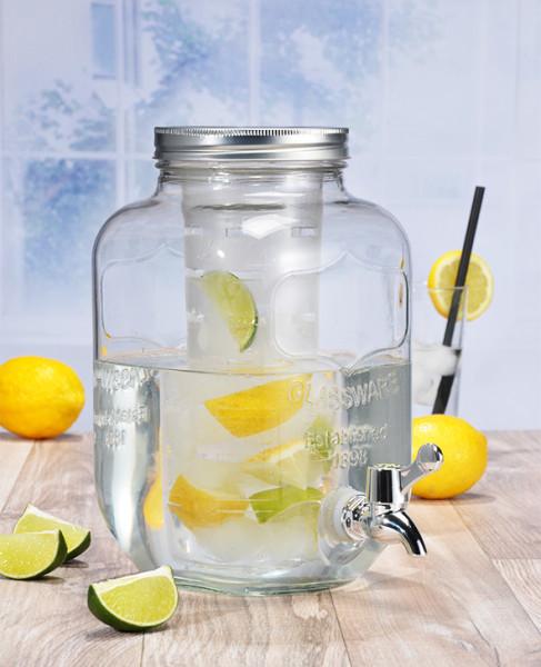Getränkespender aus Glas 4L mit Zapfhahn