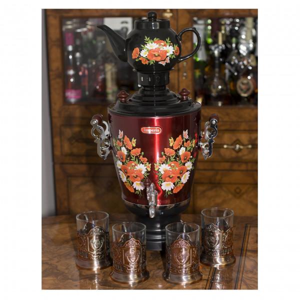 Elektrische Samowar IMPERIA schwarz mit Teekanne + 4 Teeglashalter CCCP K505-4KU