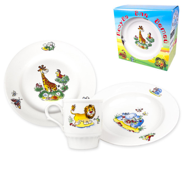 "3-tlg. Set ""Zoo"" (Becher 210 ml, Speiseteller 20 cm, Suppenteller 20 cm), porzelan"