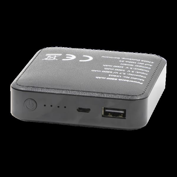 Powerbank LXB01, 6800 mAh, 7,5 x 2 x 7,5 cm, schwarz