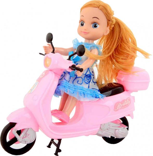 Jonotoys Puppe mit Scooter Beauty 22 cm rosa/blau
