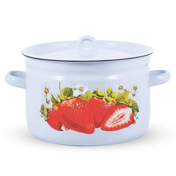 Topf mit Deckel, Erdbeere 5,5 Liter emailliert