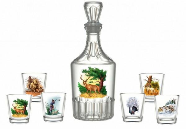Wodkagläser-Set Jagd 1 Karaffe + 6 Gläser