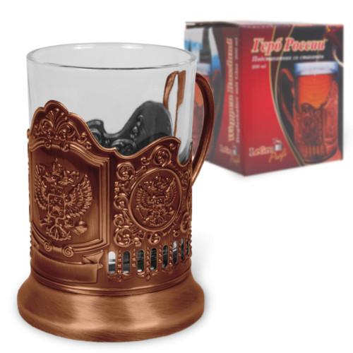 4-er Set Teeglashalter in Bronze Wappen Rußland mit Teeglas 200 ml