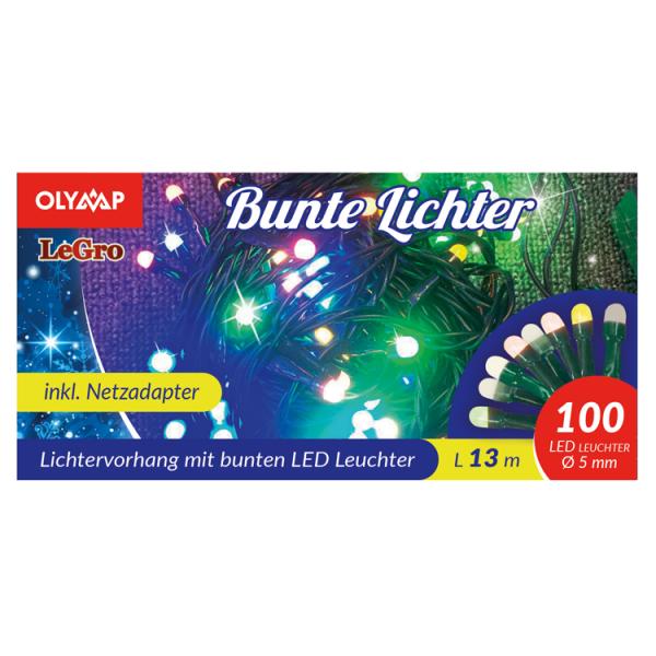 LED Lichterkette mit 100 multicolor LED's, 13 m