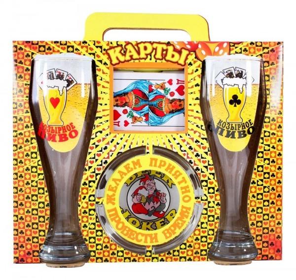 Geschenkset Biergläser Set mit Aschenbecher und Karten 4Teilig