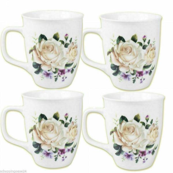 Kaffeebecher 4-er Set 400 ml weisse Rosen
