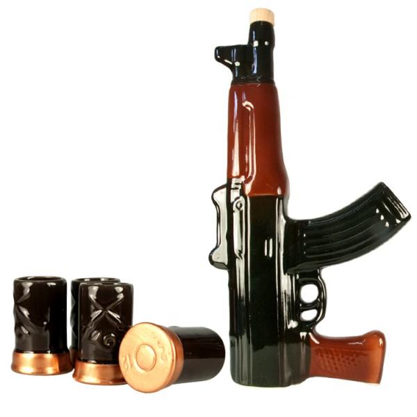 Stauf-Set, Maschinenpistole, Stauf, 4 Becher aus feiner Keramik
