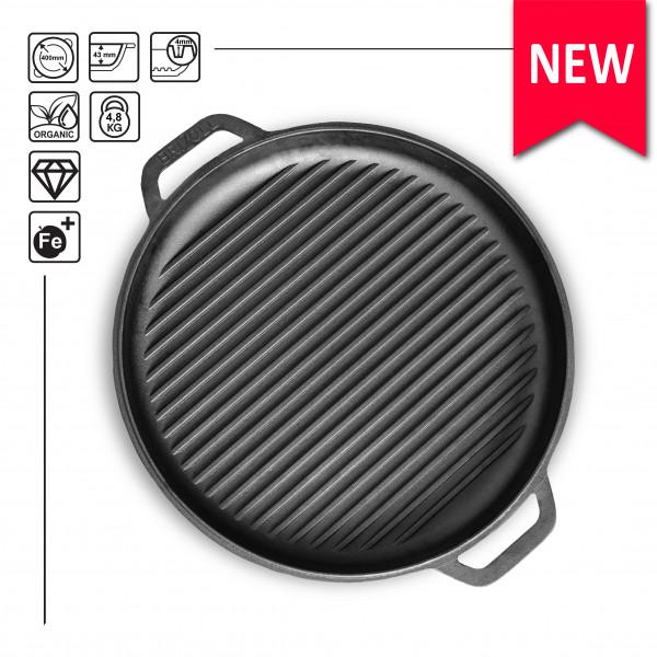 Brizoll Gusseisen Grillplatte rund D: 40 cm Grillpfanne Plancha