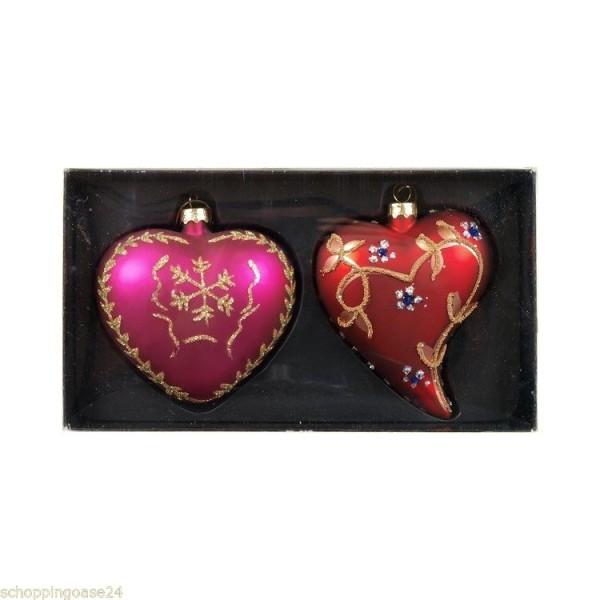 Christbaumschmuck aus Glas 2 Herzen