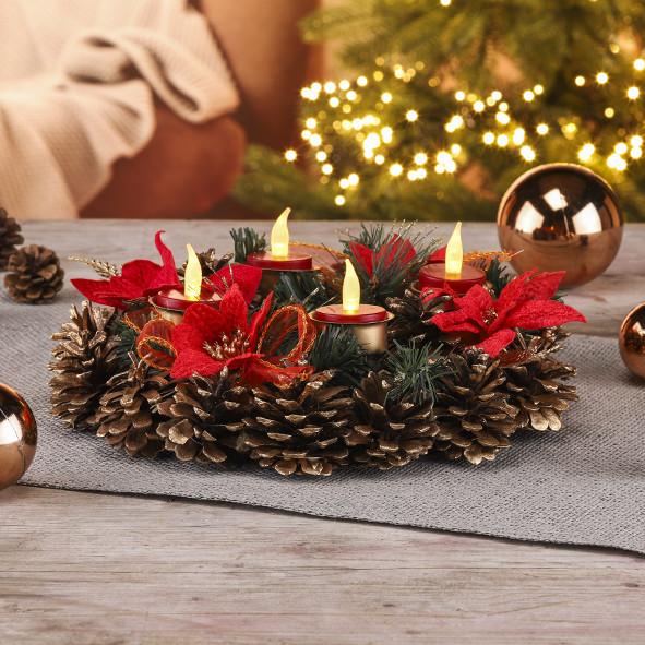 Weihnachtskranz mit LED - Teelichtern Größe ca. 30,5 cm