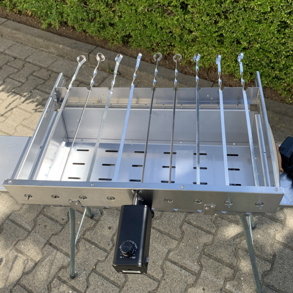 9 er Spießdreher Edelstahl+ Elektrischer Motor-Lux