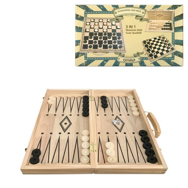 Schach-, Damen- & Backgammonspiel 47 x 47 cm