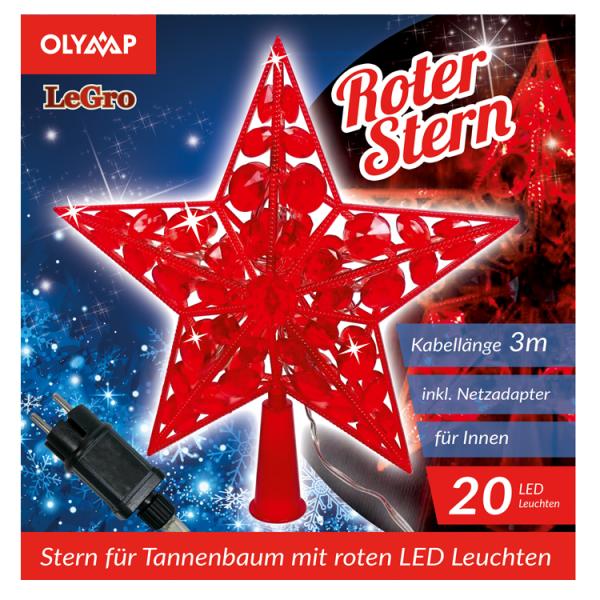 "LED Stern für Tannenbaum ""Roter Stern"" mit 20 multicolor LED's"