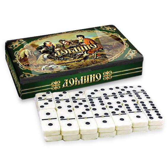 "Dominospiel Tischspiel ""Jager"" in Metalbox"