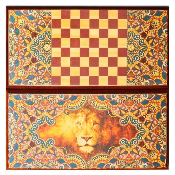 """Backgammonspiel Brettspiel Tischspiel """" Löwe"""" 60 x 30 cm"""