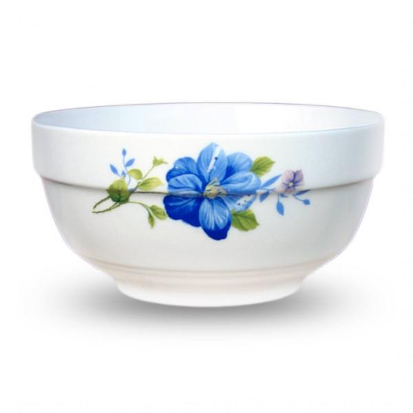 6-er Set Müsli/Salatschüssel aus Porzellan blaue Blume
