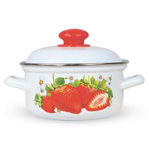 Topf mit Deckel, Erdbeere 1,5 L, emailliert