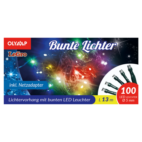 LED Lichterkette mit 100 multicolor LED's, 13 m