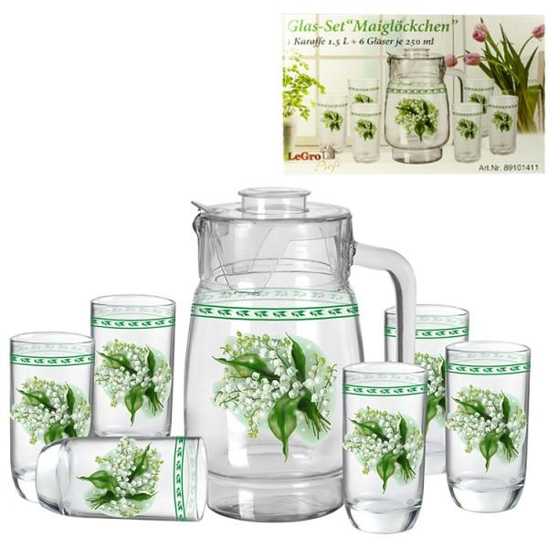Glas-Set, Maiglöckchen, 1 Karaffe 1,5L + 6 Gläser je 250ml