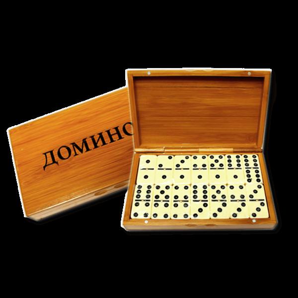 "Brettspiel ""Domino"" in Bambusbox"