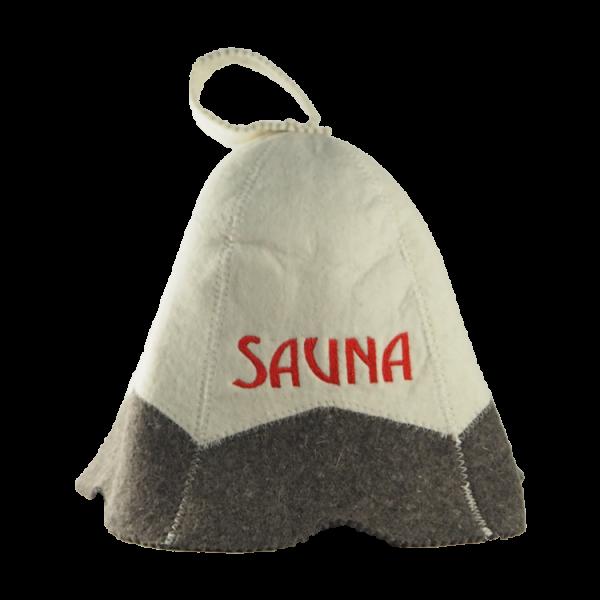 Saunahut grau/weis mit Rotebeschriftung
