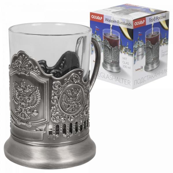 4-er Set Teeglashalter in Silber Wappen Rußland mit Teeglas 200 ml
