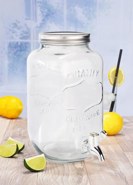 Getränkespender aus Glas 3L mit Zapfhahn