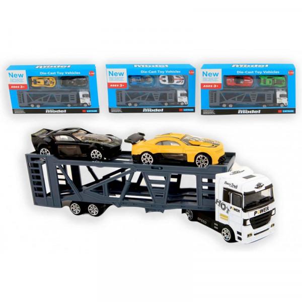 LKW mit 2 Autos 20 cm 1:87 Die-Cast 3-Farblich sortiert
